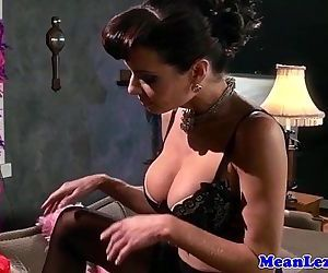 Busty lezdom ass toyed..
