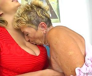Busty granny and her..