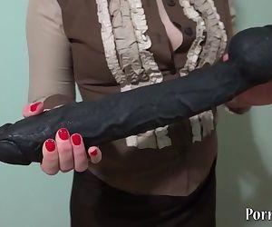 huge black dildo in a..