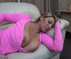 Pink shirt boobs out..