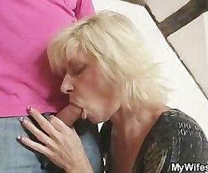 Blonde mom seduces her..