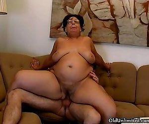 Horny fat grandma gets..