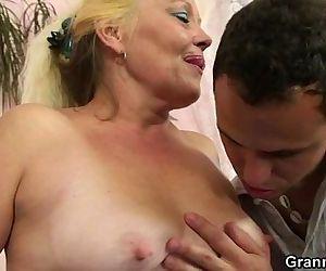 Blonde granny gets her..