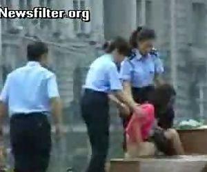 Woman bathing in public..