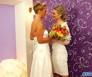 Bukkake lesbian brides..