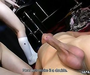 Lucky stud fucks three..
