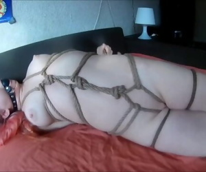Rope bondage ball gaged..