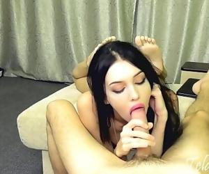 Young brunette sucks..