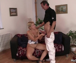 Old man seduces blonde..