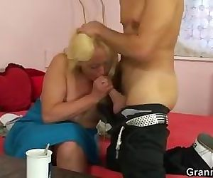 Blonde spreads her..