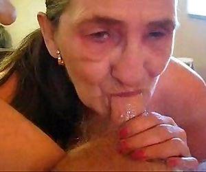 Old whore eats my cum...