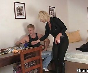 He helps mature blonde..