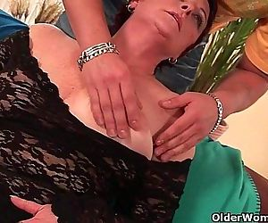 Sexy grandma enjoys his..