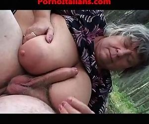 Busty old granny does..
