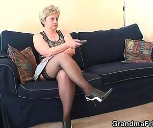 Grandma takes two cocks..