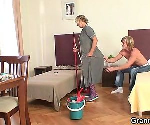 Cleaning mature woman..