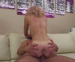 Slim blonde granny..