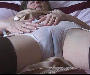 Hairy granny in slip..